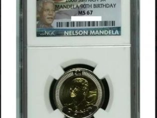 MS67 90th Mandela Birthday R5 coin