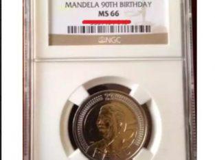 MS66 90th Mandela Birthday R5 coin